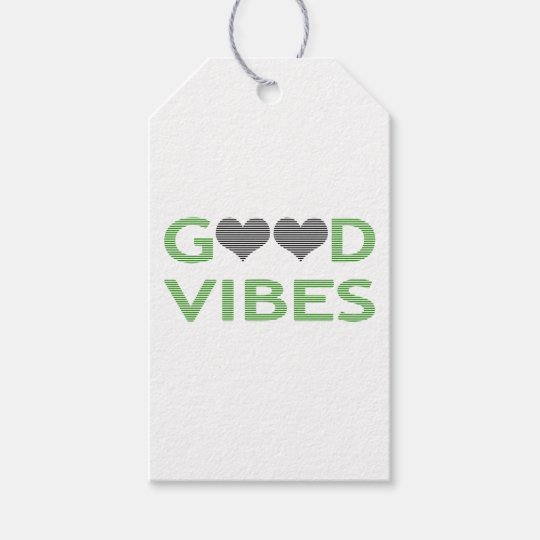 Good vibes - heart - black and green. gift tags