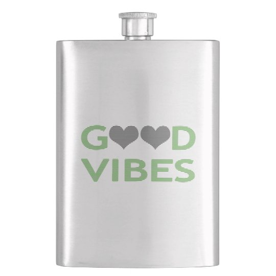 Good vibes - heart - black and green. hip flask