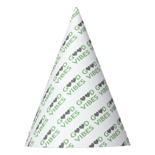 Good vibes - heart - black and green. party hat