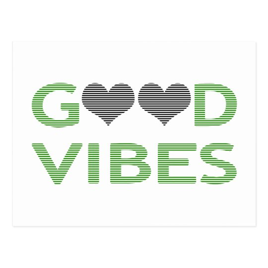 Good vibes - heart - black and green. postcard