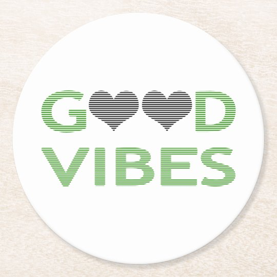 Good vibes - heart - black and green. round paper coaster