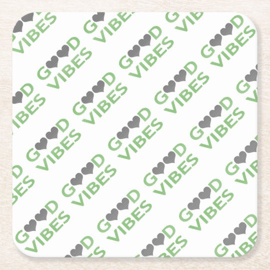 Good vibes - heart - black and green. square paper coaster