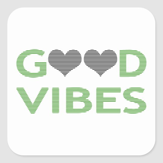 Good vibes - heart - black and green. square sticker