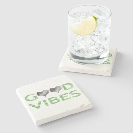 Good vibes - heart - black and green. stone coaster