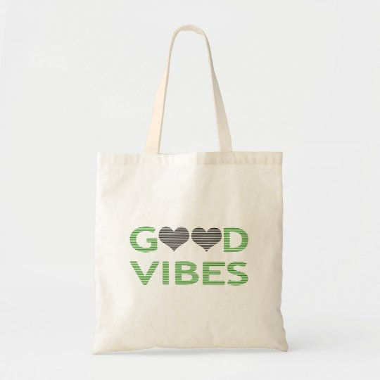 Good vibes - heart - black and green. tote bag