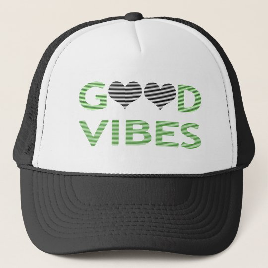 Good vibes - heart - black and green. trucker hat