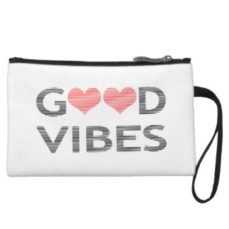Good vibes - heart - black and pink. wristlet