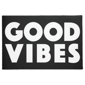 Good Vibes New Age Customizable Black And White Doormat