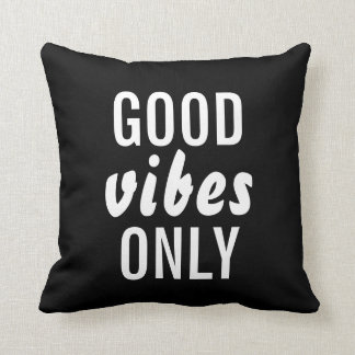 """Good Vibes Only"" Black Decorative Throw Pillow"