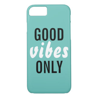 """Good Vibes Only"" Blue Barely There iPhone 7 Case"