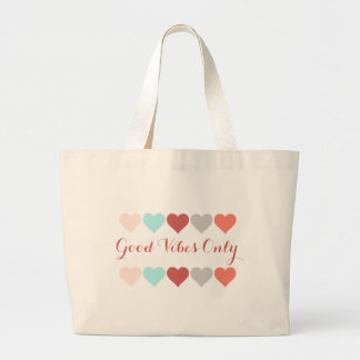 Good Vibes Only, hearts of aqua, rose, salmon Large Tote Bag