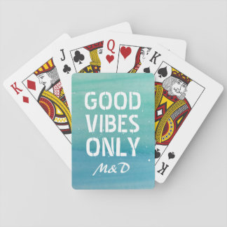 Good Vibes Only monogrammed playing cards