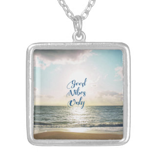 """Good Vibes Only"" Quote Typography Sea Sun Silver Plated Necklace"