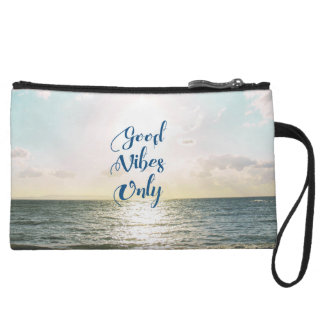 """""""Good Vibes Only"""" Quote Typography Sea Sun Wristlet Clutch"""