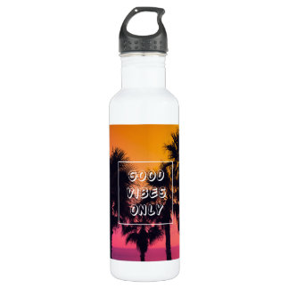 """Good Vibes Only""  Tropical Beach Palms Sunset 710 Ml Water Bottle"