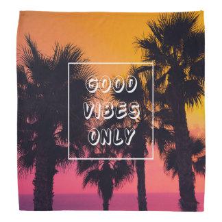 """Good Vibes Only""  Tropical Beach Palms Sunset Bandana"