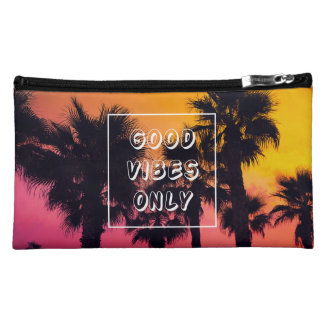 """Good Vibes Only""  Tropical Beach Palms Sunset Cosmetic Bag"
