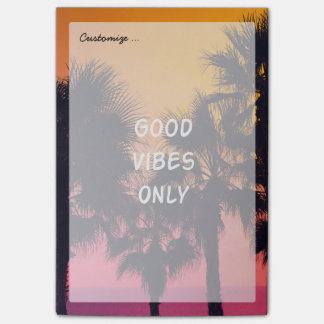 """Good Vibes Only""  Tropical Beach Palms Sunset Post-it Notes"