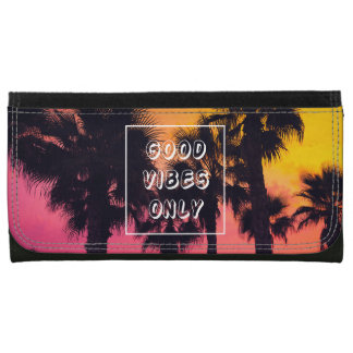 """""""Good Vibes Only""""  Tropical Beach Palms Sunset Wallets"""