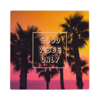 """""""Good Vibes Only""""  Tropical Beach Palms Sunset Wood Coaster"""