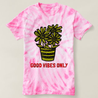 """Good Vibes Only"" Women's Cyclone Tie-Dye T-Shirt"
