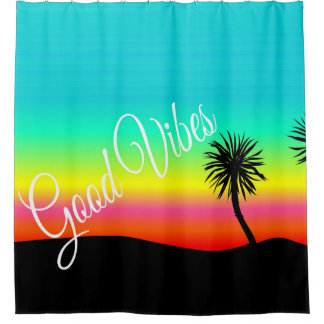 Good Vibes Palm Tree Sunset Shower Curtain