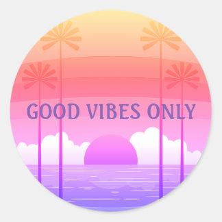 Good Vibes Pink/Purple Retro Beach Sunset Sticker