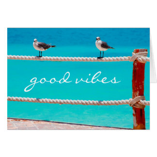 """Good vibes"" quote beach birds photo blank inside Card"