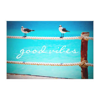 """Good Vibes"" Quote White Seagull Beach Birds Photo Canvas Print"