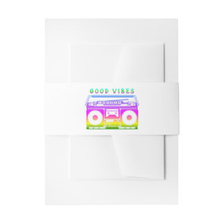 Good Vibes Retro Stereo Invitation Belly Band