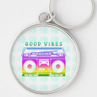 Good Vibes Silver-Colored Round Key Ring