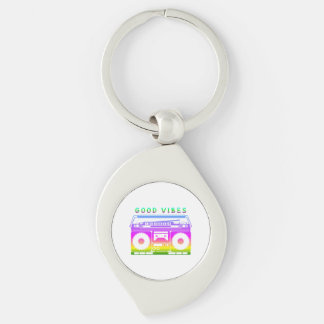 Good Vibes Silver-Colored Swirl Key Ring