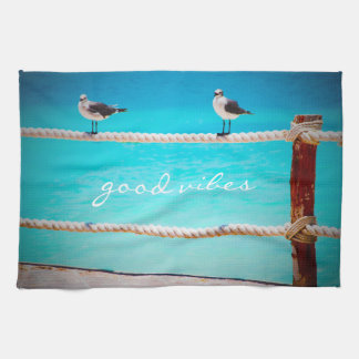 """Good Vibes"" White Seagull Beach Birds Photo Tea Towel"