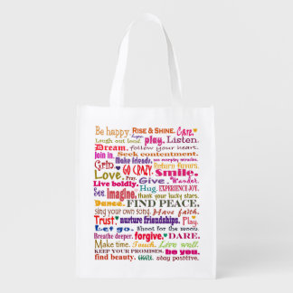 good vibrations art reusable grocery bag