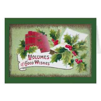 Good Wishes with Books and Holly Card