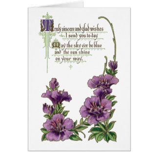 Good Wishes with Purple Flowers Greeting Card