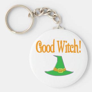 Good Witch! Green Hat Halloween Design Basic Round Button Key Ring