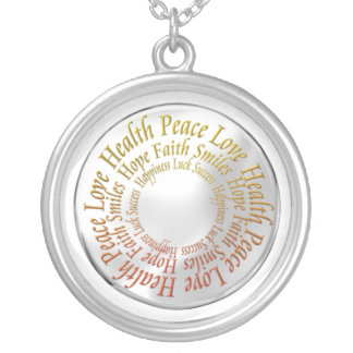 Good words round pendant necklace