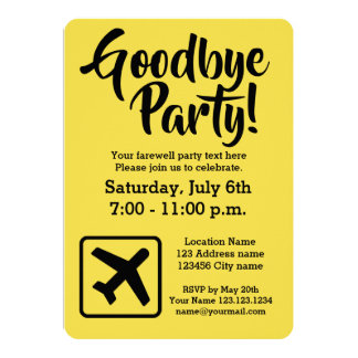 Goodbye farewell going away party invitations