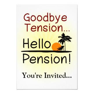 Goodbye Tension, Hello Pension Funny Retirement Personalized Invitations