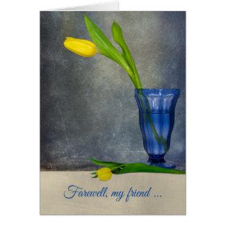 goodbye-yellow tulip in sundae glass card