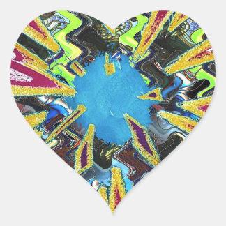 Goodluck modern abstract art sparkling star shine heart sticker