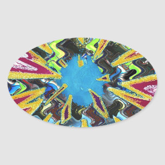 Goodluck modern abstract art sparkling star shine oval sticker