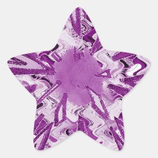 Goodluck Purple Star Sparkling Modern Abstract art Star Sticker