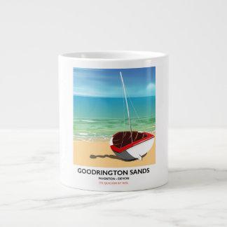 Goodrington Sands Devon vintage travel poster Large Coffee Mug