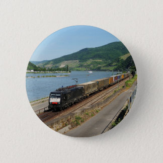 Goods train in ASS one ASS on the Rhine 6 Cm Round Badge