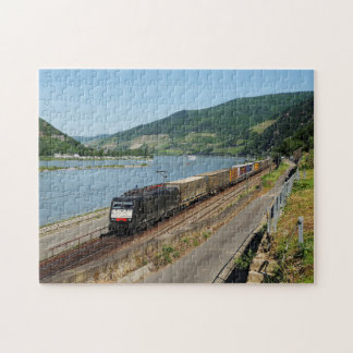 Goods train in ASS one ASS on the Rhine Jigsaw Puzzle