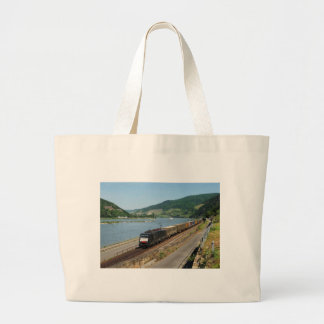 Goods train in ASS one ASS on the Rhine Large Tote Bag