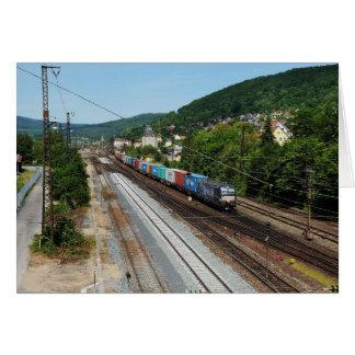 Goods train in Gemünden at the Main Card
