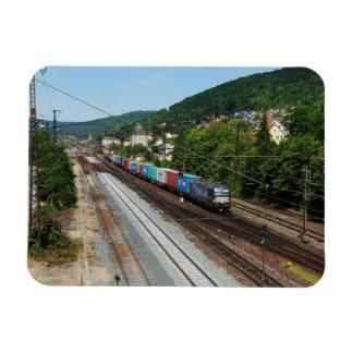 Goods train in Gemünden at the Main Magnet